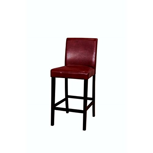 Amazoncom Bowery Hill 30 Low Back Faux Leather Bar Stool In Red