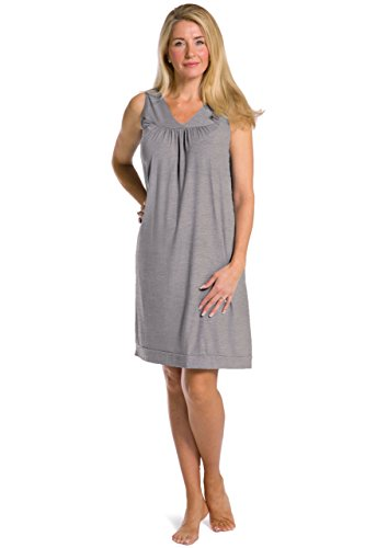 Fishers Finery Women's EcoFabric Sleeveless Nightgown (Lt Hthr Gry, S) (Gathered Nightgown)
