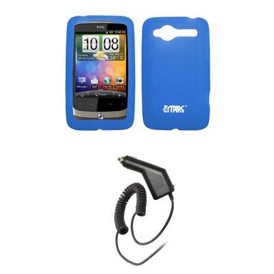 EMPIRE Light Blau Silicone Skin Cover Case Tasche Hülle + Auto Charger (CLA) for Alltel HTC Wildfire CDMA