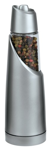 Trudeau Graviti Battery-Operated Pepper Mill, Matte Silver