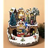 Gerson 10.2 in. Electric Fiber Optic Village with Moving Train and Music (Fiber Optic Christmas Village With Moving Train)