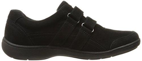 Sneakers Da Donna Braccialo Aravon Con Doppia Fibbia, Pelle Scamosciata Nera, 7 B Us
