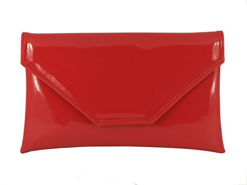 - Loni Womens Stylish Large Envelope Patent Clutch Bag/Shoulder Bag Wedding Party Prom Bag