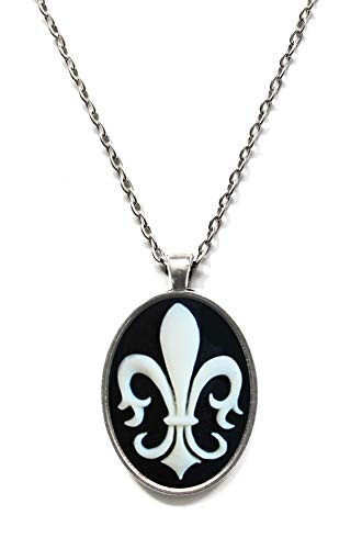 - Victorian Vault Fleur de Lis Cameo Steampunk Gothic Pendant Necklace on Chain