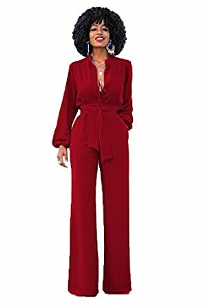9956c5078922 Initial Women s Wide Leg Jumpsuit High Waist Romper Pants Button Up Long  Romper w Belt Burgundy