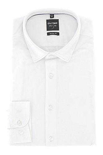 OLYMP Herren Sweatshirt Freizeithemd Level Five Langarm mit Kent Kragen Body Fit 100% Baumwolle Gr.40 Weiss