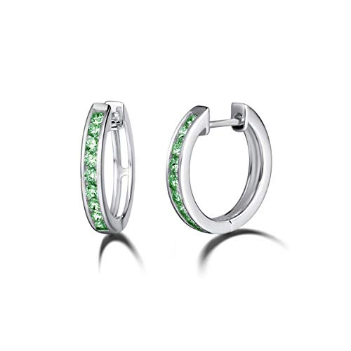 Carleen 925 Sterling Silver Channel Setting Round Cut Cubic Zirconia CZ Simulated Diamond Hinged Hoop Earrings for Women Girls, 18mm (Green)