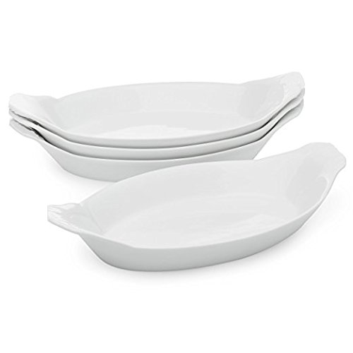 Oval Au Gratin Baking Dishes, Rarebit, Fine White Porcelain 9.25 Inches Set Of 6 (9.25