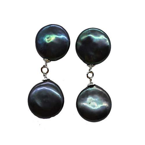 (HUANHUAN Earrings 13-15Mm Coin Flat Black Freshwater Pearl Dangle Earring)