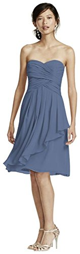Davids Bridal Short Crinkle Chiffon Bridesmaid Dress With Front Cascade Style F14847  Steel