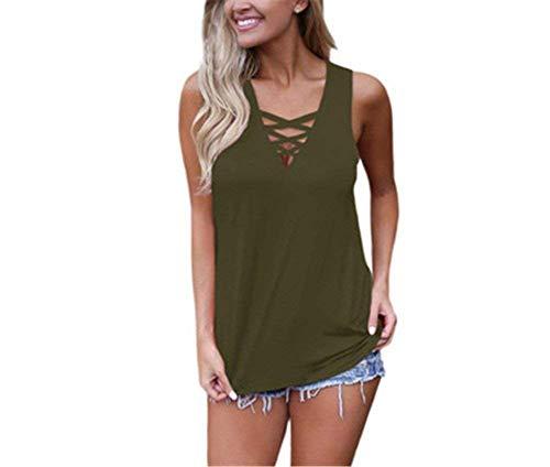 Verano Fiesta Mangas Modernas Camisetas Sin Sólidos Tops Elegante Shirts cuello Camisas Vintage Colores Camisolas Mujer V Verde Moda Cordones Con 4pfqxwA5