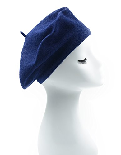 Melesh - Womens Classic Solid Color Knitted Wool French Beret (Navy Blue) -