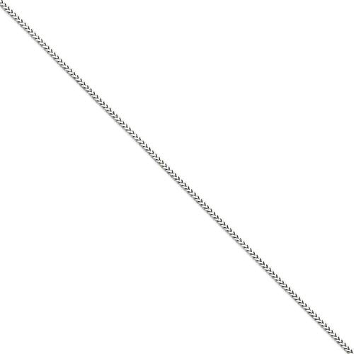 Dubai Collections Jewelry 14K Franco White Gold Box Chain Necklace Men Women Teens Pendant Thin for Charms, Strong Box Gift Lobster Clasp Valentines (18.0) ()