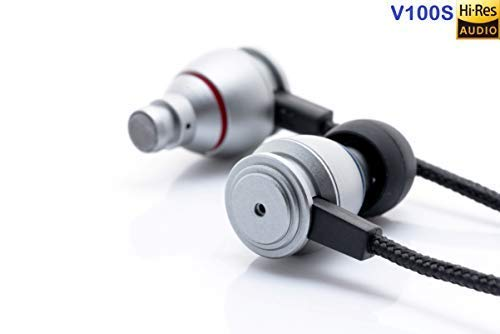 Voza V100S Hi-Res Extra Bass Earbuds/Metallic Silver Color