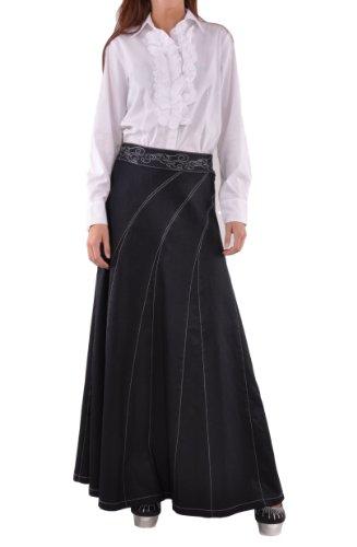 Style J Sweeping Beauty Long Denim Skirt-Blue-38(18) ()