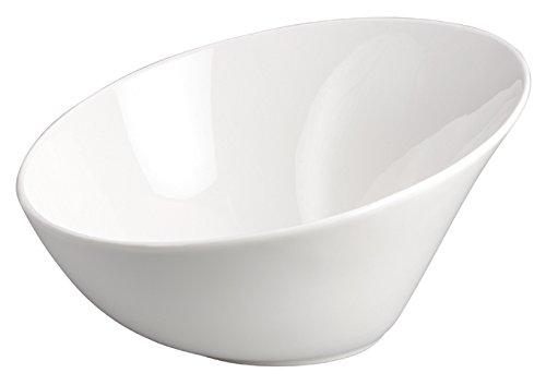 Winco WDP003-203, 9-1/2-Inch Dia 1.5 Quart White Porcelain Angled Mini Bowls, Ardesia Priscila Serving Dessert Cups, Salad Bowl Set, Ice Cream Dishes, Porcelain Dipping Cups, 12-Piece Set