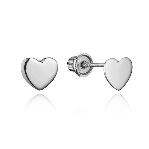 14k White Gold Plain Heart Children Screwback Baby Girls Stud Earrings - Baby Jewelry White Gold