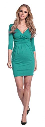 Happy Mama. Mujeres Maternidad Jersey Tulipán Vestido S-4XL 236p (Verde Azulado, EU 46, 3XL)