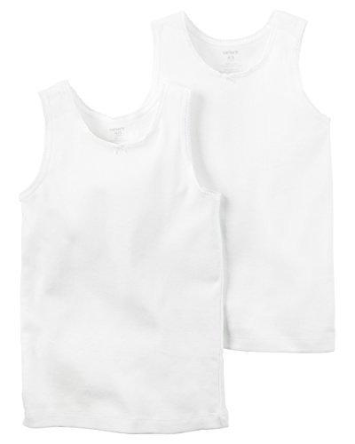 Cotton Baby Undershirt (Carters Baby Girls 2pk girl tank white, 8)