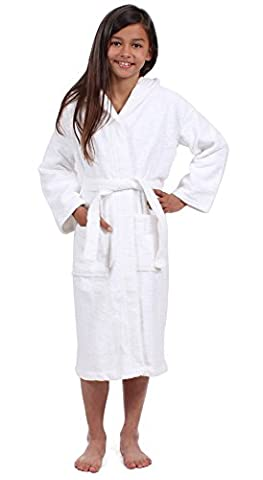 Turkuoise 100% Turkish Cotton Terry Hooded Eco-Friendly Kids Bathrobe-Girls White L(2040-WHT-L) - White Terry Hooded Cover Up