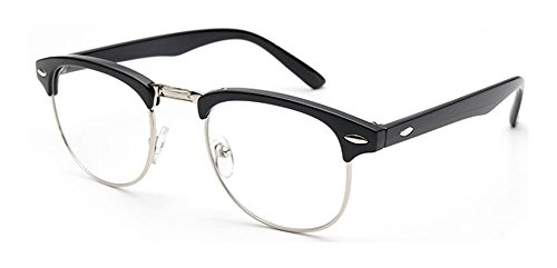 Outray Vintage Retro Classic Half Frame Horn Rimmed Clear Lens Glasses 2135c2 BlackSilver