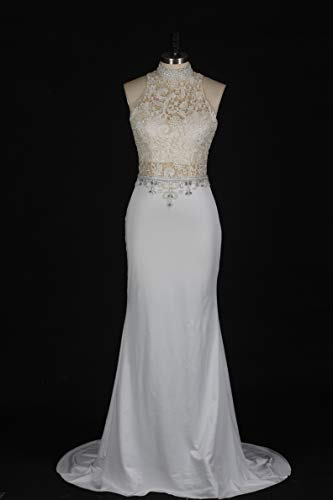 Special Bridal Hot Women Mermaid Party Dress Halter Beaded Crystal Lace Evening Dress Maxi Gown