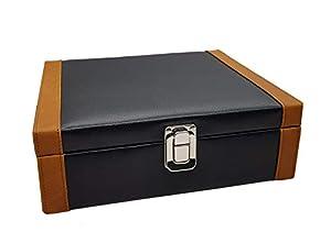 Essart Elegant 8 Grid Watch Display & Jewelry Collection Box - Black