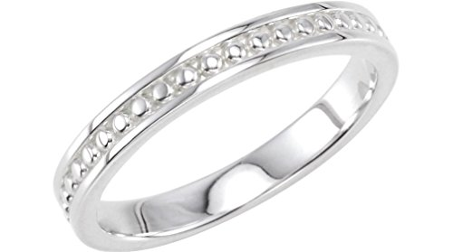 Granulated Raised Edge 2.75mm 14k White Gold Stacking Band, Size 4 by The Men's Jewelry Store (for HER)