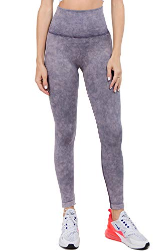 (ICONOFLASH Women's Workout Leggings Acid Wash Rinse Stretchy Capris for Running Sports Yoga Fitness (Amethyst, Small))
