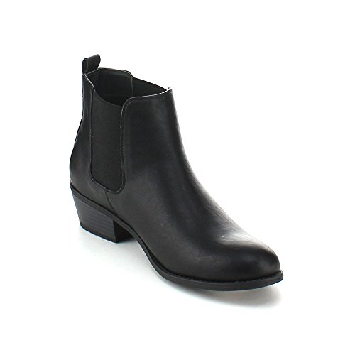 Refresh TILDON-02 Women's Almond Toe Simple Flat Heel Ankle Riding Booties,Black,8 (Period Twice A Month After Plan B)