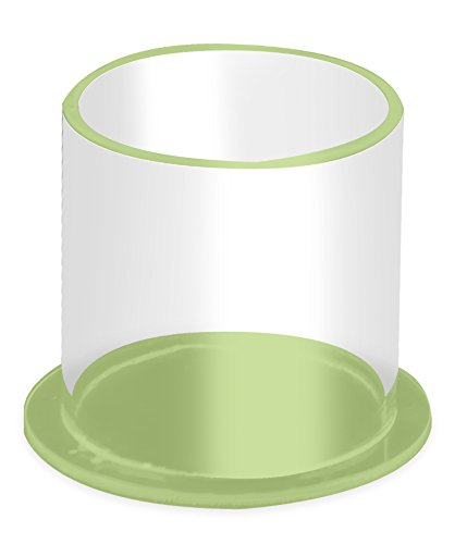 TrippNT 53139 Clear/Green Acrylic Pasteur Pipette Cylinder Holder, 4'' Width x 3'' Height x 4'' Depth