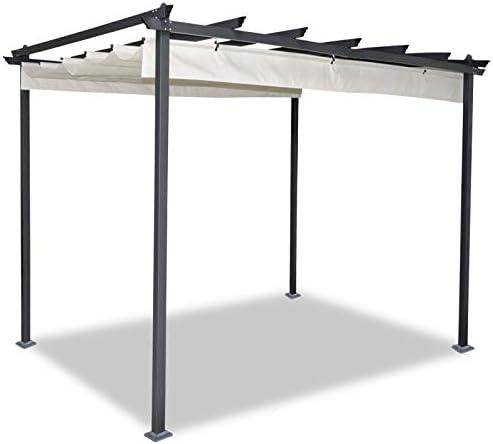 idmarket – Pergola tejado retráctil Beige 3 X 3 M cenador 4 patas ...