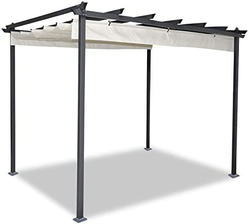 idmarket – Pergola tejado retráctil Beige 3 X 3 M cenador 4 patas: Amazon.es: Jardín