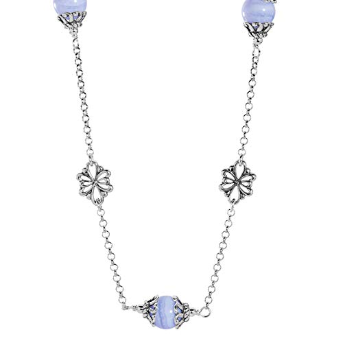 Carolyn Pollack Sterling Silver Blue Lace Agate Gemstone Floral Stations Beaded Necklace 17 Inch ()