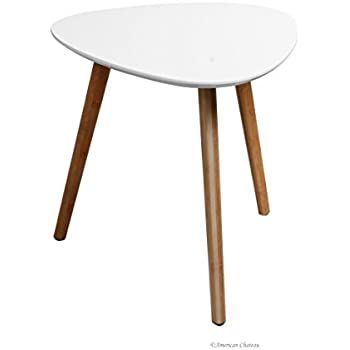 Beautiful Retro Mid Century Modern Danish Style White Wood Triangle Accent Side Table