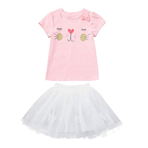 Creazrise Kids Girls Cute Cartoon Rabbit Bunny Pattern Clothing Sets Top + Lace Tutu Skirt Set Pink