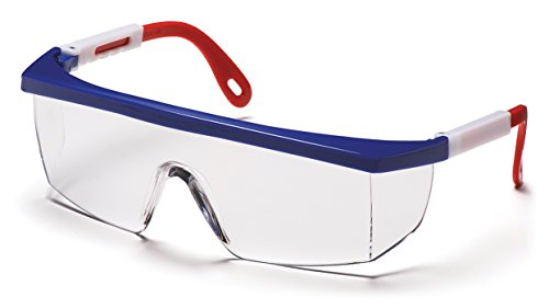 Pyramex Integra Safety Eyewear, Clear Lens With Red, White, And Blue Frame -