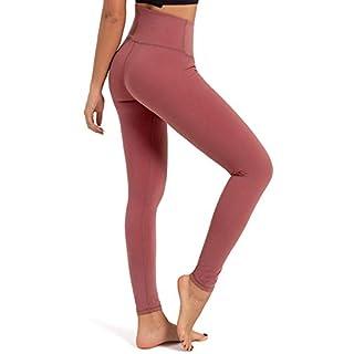 FIGESTIN High Waist Yoga Pants Tummy Control, 4 Way Stretch Workout Pants for Women Gym Yoga Leggings Pink Size XL