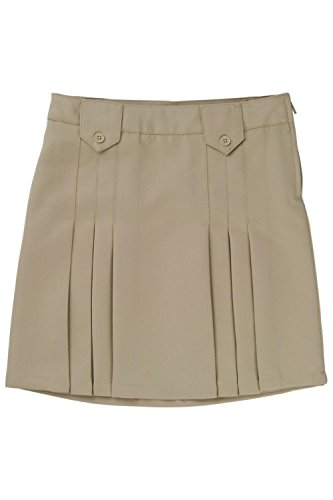 French Toast Big Girls' Front Pleated Skirt With Tabs, Khaki, 16