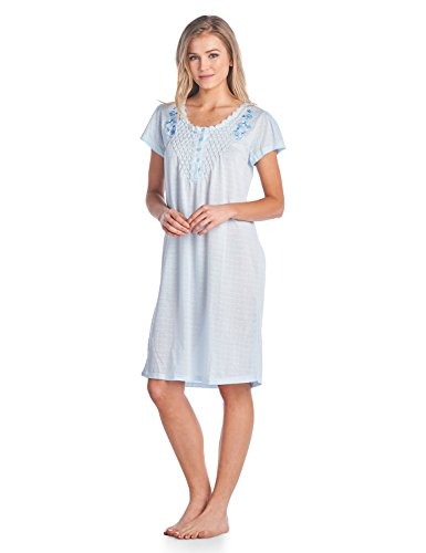 Cotton Embroidered Nightgown - Casual Nights Women's Fancy Lace Flower Short Sleeve Nightgown - Embroidered/Blue - X-Large