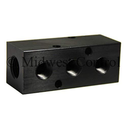 Midwest Control M25-183 Manifold 1/4'' FPT Inlet x (3) 1/8'' FPT Outlets, -10 Degree F to 200 Degree F, Black Anodized Aluminum, 1000 psi Air, 3000 psi Non Shock Hydraulic
