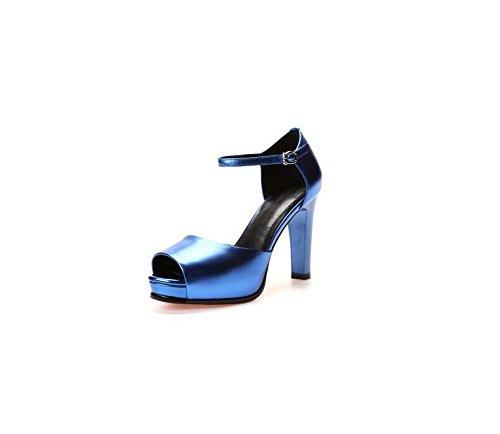 SHINIK Plataforma de zapatos de mujer con tacones gruesos Cuero de primavera y verano Nueva palabra sandalias de hebilla Azul