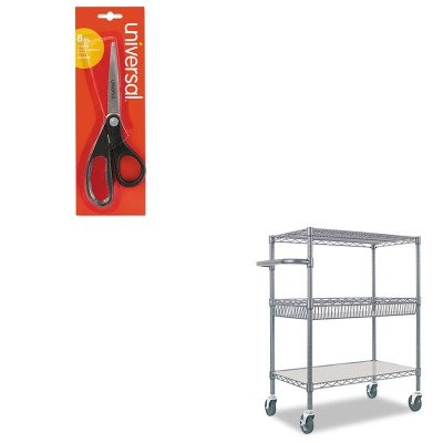 KITALESW543018BAUNV92009 - Value Kit - Best Three-Tier Wire Rolling Cart (ALESW543018BA) and Universal Economy Scissors (UNV92009) by Best