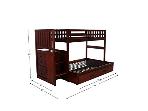 home, kitchen, furniture, bedroom furniture, beds, frames, bases,  beds 12 discount Discovery World Furniture Mission Twin Over Full Staircase in USA