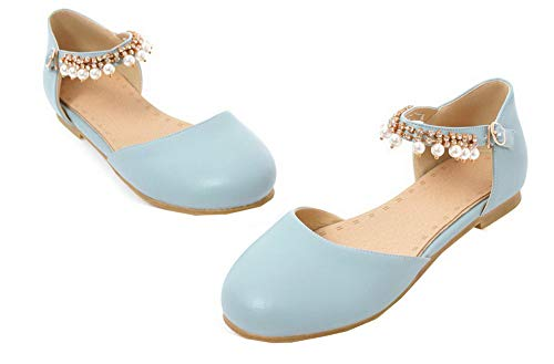 Tacco Flats Luccichio Ballet GMMDB010639 Puro AgooLar Donna Fibbia Azzurro Basso qwt0XxXFSE