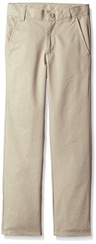 Nautica Boys' Flat Front Twill Double Knee Pant,KHAKI,8S