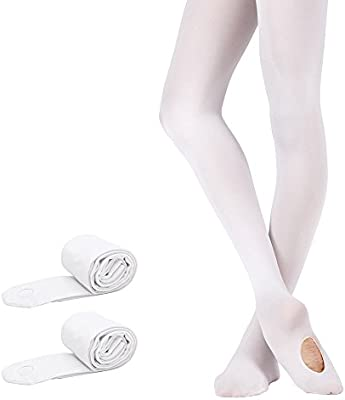 Bezioner Girls 2 Pairs Ultra Soft White Convertible Ballet Tights Classical Transition Dance Tights M Toddler//Kids//Women