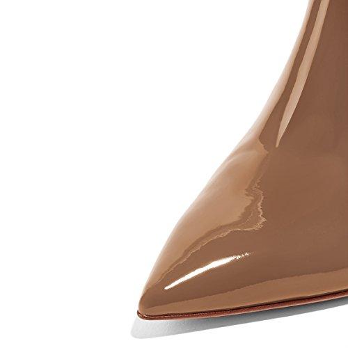Scivolare Tacchi Cm Sandali Donne 4 Su Stiletto Scorrono Lucida Pantofole 15 Fsj Dimensioni Brown Statunitense Alti Mulattiere Scarpe 12 Sz5d0xn