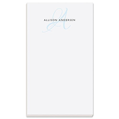 """Initial Personalized Notepad - 1 pad, 50 Sheets, Large 5"""" x 8-1/2"""", Personalized with your Initial & Name, Monogram Notepad, Personalized Stationery Pad"""