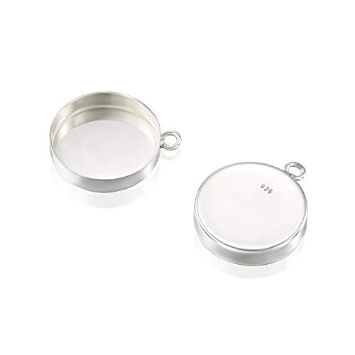 - 4 Pcs 15mm Round Setting with 1 Loop 925 Sterling Silver Bezel Cup Findings for Pendants Charms Earrings